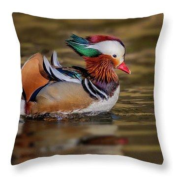 Throw Pillow featuring the photograph Mandarin Duck  by Susan Candelario