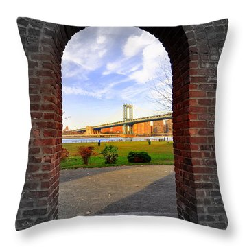 Manhattan Bridge Framed Throw Pillow by Mark Gilman