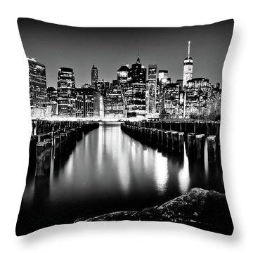 Manhattan Skyline At Night Throw Pillow by Az Jackson