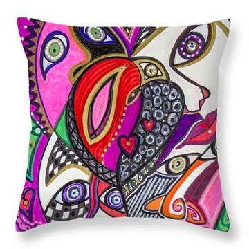 Many Faces Throw Pillow