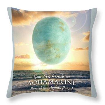 March Birthstone Aquamarine Throw Pillow