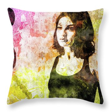 Maria Valverde Throw Pillow by Svelby Art