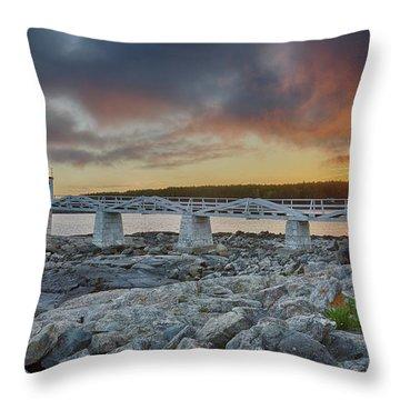 Marshall Point Lighthouse At Sunset, Maine, Usa Throw Pillow