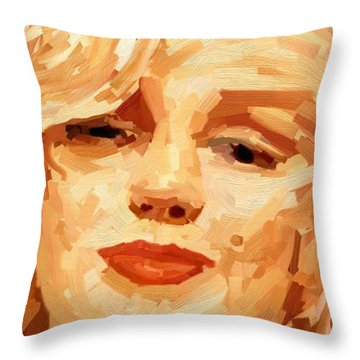 Throw Pillow featuring the painting Marylin Monroe 3 by James Shepherd