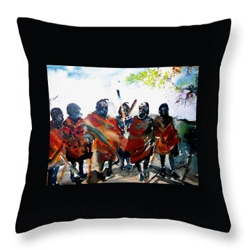 Masaai Boys Throw Pillow