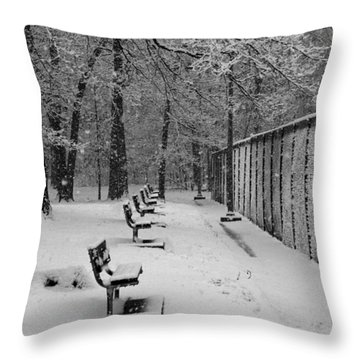 Match Called For Snow Throw Pillow by Andy Lawless