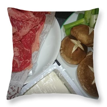 Materials Of The Sukiyaki Dish  Throw Pillow