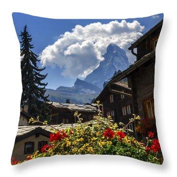 Matterhorn And Zermatt Village Houses, Switzerland Throw Pillow