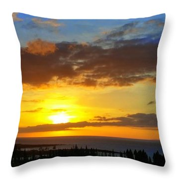 Maui Sunset At The Plantation House Throw Pillow