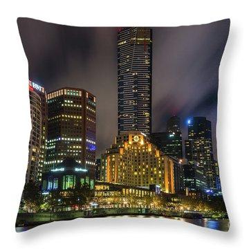 Melbourne City Skyline Over Yarra River  Throw Pillow