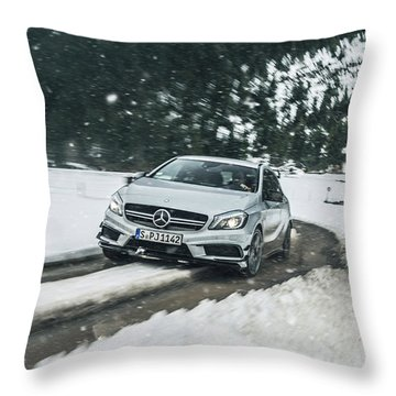 Mercedes Benz A45 Amg Snow Throw Pillow