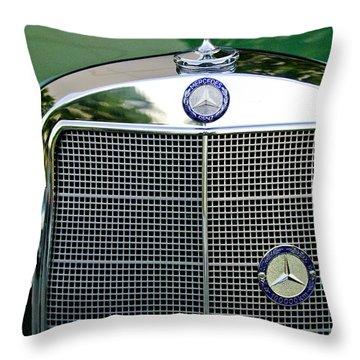 Mercedes Benz Hood Ornament Throw Pillow by Jill Reger