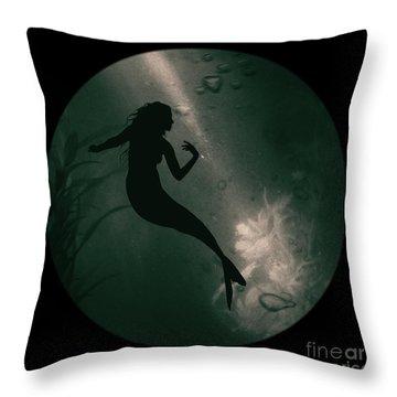 Mermaid Deep Underwater Throw Pillow