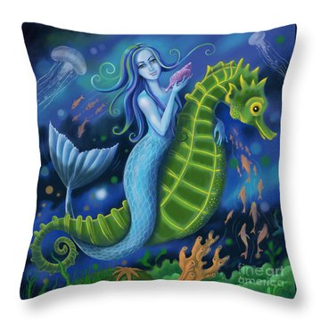 Throw Pillow featuring the digital art Mermaid by Valerie White