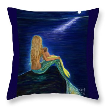 Throw Pillow featuring the painting Mermaids Sweet Babies Moon by Leslie Allen