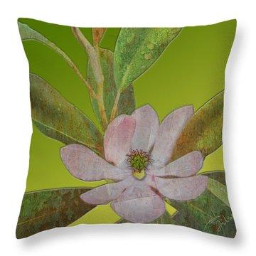 Metal Magnolia Throw Pillow