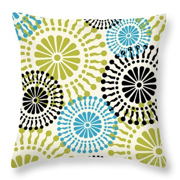 Metro Retro Circle Pattern 3 Throw Pillow