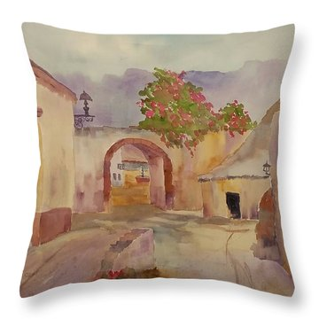 Mexican Street Scene Throw Pillow