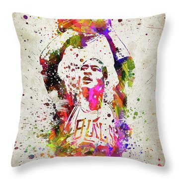 Michael Jordan In Color Throw Pillow by Aged Pixel