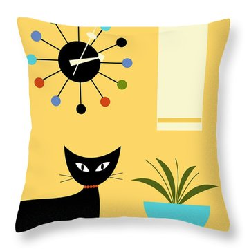Mid Century Ball Clock 3 Throw Pillow