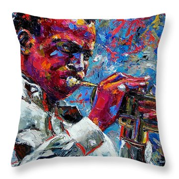 Miles Davis Throw Pillow by Debra Hurd