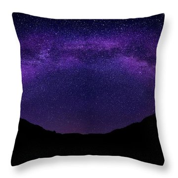 Throw Pillow featuring the photograph milky way above the Alps by Hannes Cmarits