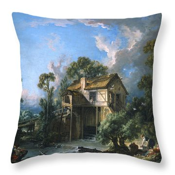 Mill At Charenton Throw Pillow by Francois Boucher