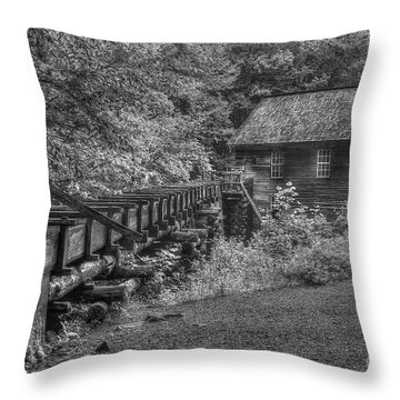 Throw Pillow featuring the photograph Mingus Mill 3 Mingus Creek Great Smoky Mountains Art by Reid Callaway