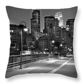 Minneapolis Skyline From Stone Arch Bridge Throw Pillow by Jon Holiday