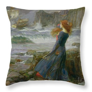 Miranda Throw Pillow by John William Waterhouse