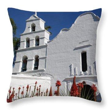 Mission San Diego Throw Pillow by Jeff Lowe