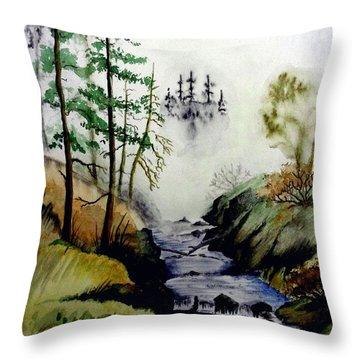 Misty Creek Throw Pillow by Jimmy Smith