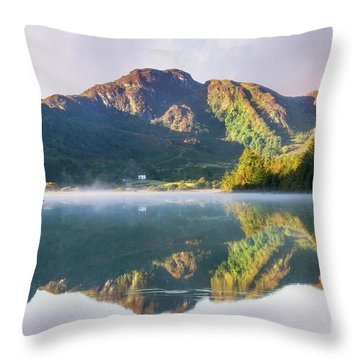 Throw Pillow featuring the photograph Misty Dawn Lake by Ian Mitchell