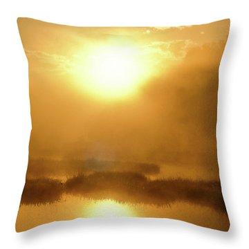 Misty Gold Throw Pillow
