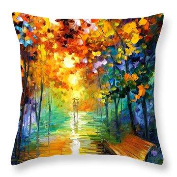 Misty Park Throw Pillow by Leonid Afremov