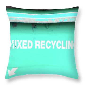 Mixed Recycling Bin Throw Pillow