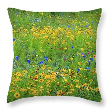 Mixed Wildflowers In Texas 538 Throw Pillow