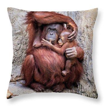 Mom And Baby Orangutan Throw Pillow
