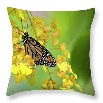 Monarch Butterfly On Yellow Orchids Throw Pillow