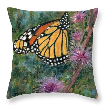 Monarch On Blazing Star Throw Pillow