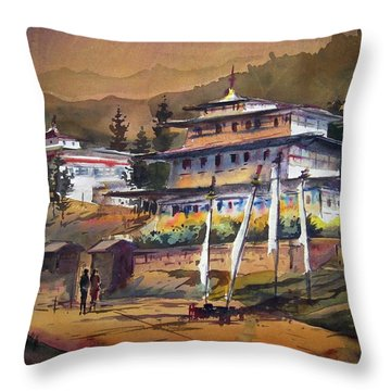 Throw Pillow featuring the painting Monastery In Himalaya Mountain by Samiran Sarkstery in Himalaya Mountainar