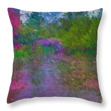 Throw Pillow featuring the mixed media Monet's Lily Pond by Jim  Hatch
