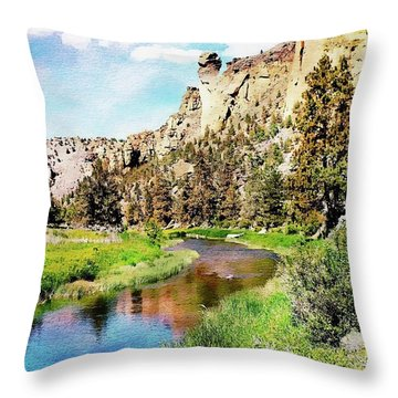 Throw Pillow featuring the digital art Monkey Face Rock - Smith Rock National Park by Joseph Hendrix