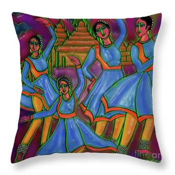Monsoon Ragas Throw Pillow by Latha Gokuldas Panicker