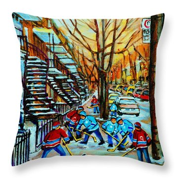 Montreal Hockey Paintings Throw Pillow by Carole Spandau