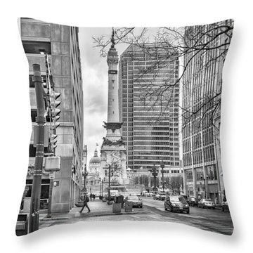 Throw Pillow featuring the photograph Monument Circle by Howard Salmon