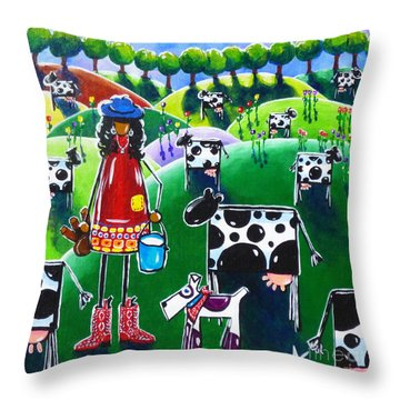 Moo Cow Farm Throw Pillow by Jackie Carpenter
