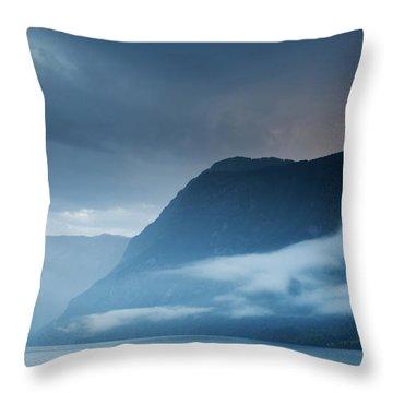 Moody Lake Bohinj Throw Pillow