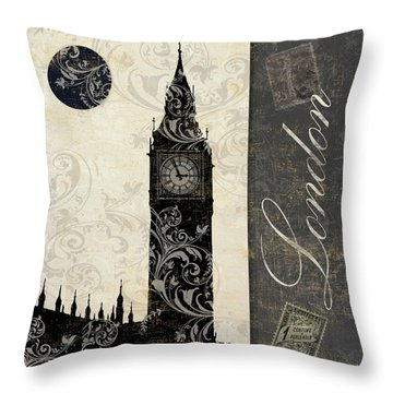 Moon Over London Throw Pillow
