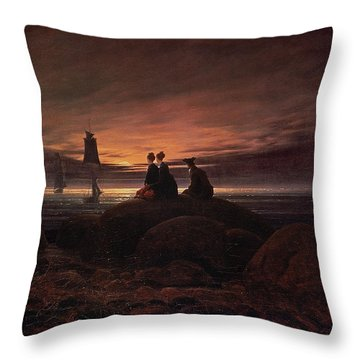 Moon Rising Over The Sea Throw Pillow by Caspar David Friedrich